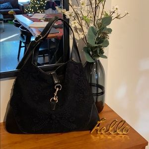Authentic Gucci Black Lace Hobo Bag